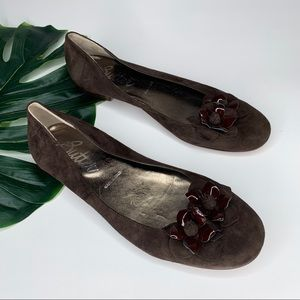 Butter Italy brown ballet flats removable bow 38